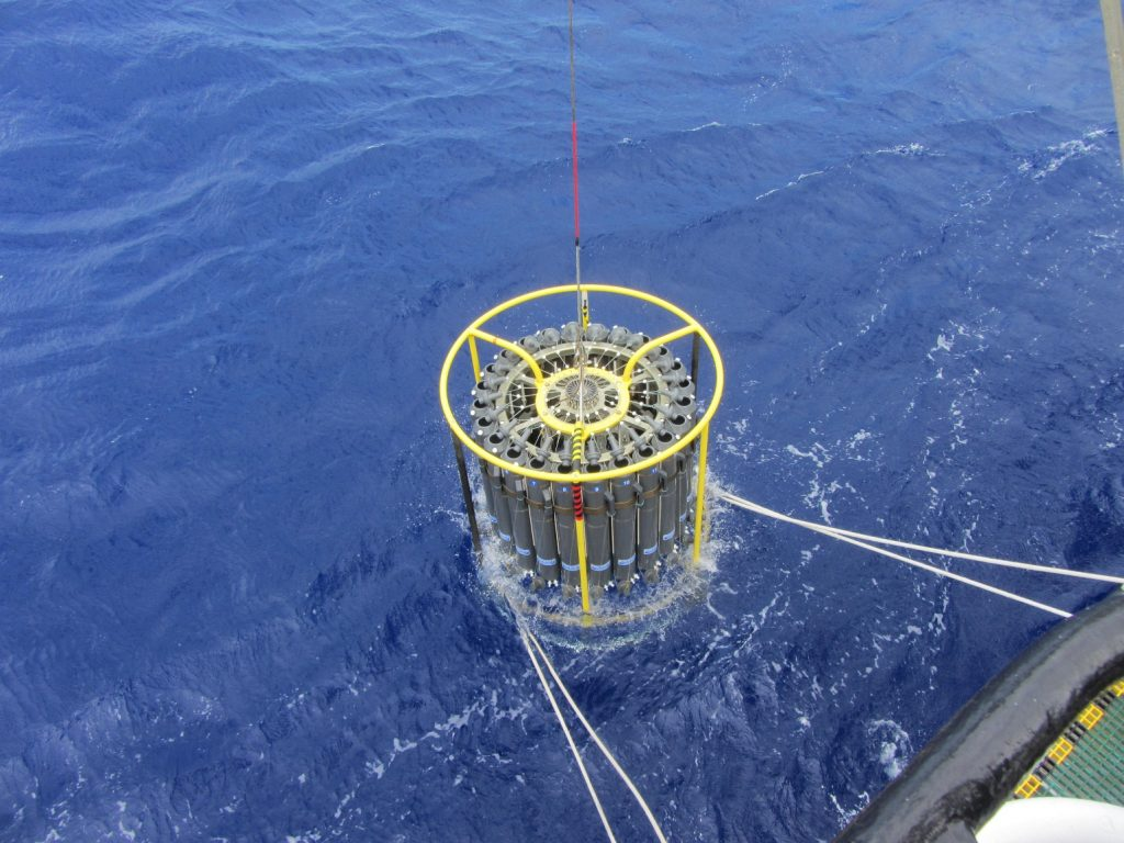 Oxygen concentrations in the modern ocean are typically measured using oxygen sensors attached to an instrument called a CTD (conductivity-temperature-depth), which is deployed from a ship and can take measurements down to several kilometres depth. This particular CTD setup was deployed from the RV Atlantic Explorer on a survey in the Sargasso Sea, close to Bermuda.