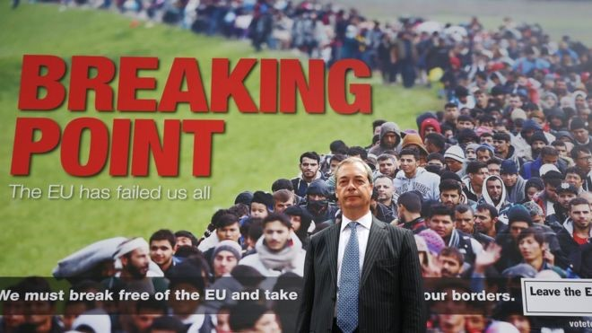Nigel Farage unveils a poster, June 16th 2016.